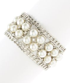 Loving this Silvertone & Faux Pearl Combat Bracelet on #zulily! #zulilyfinds