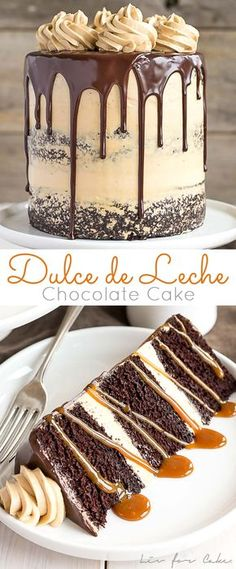 The ultimate combo of chocolate and caramel come together in this delicious chocolate dulce de leche cake livforcake com 24 snazzy grown up adult birthday party ideas Mini Desserts, Just Desserts, Delicious Desserts, Dessert Recipes, Drip Cake Recipes, 6 In Cake Recipe, Food Cakes, Cupcake Cakes, Muffin Cupcake