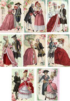 Vintage Inspired Marie Antoinette Valentine Couples Scrapbooking Crafts Set of 8   eBay