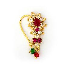 Stone Nath design Royal Jewelry, India Jewelry, Jewelry Art, Silver Jewelry, Fashion Jewelry, Jewlery, Traditional Indian Jewellery, Indian Jewellery Design, Jewelry Design
