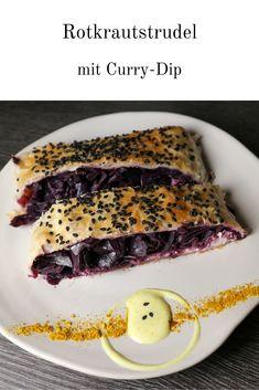 Rotkraut und Curry? Zugegeben die Kombi klingt befremdend! Sie ist allerdings einzigartig und das Curry-Dip verleiht dem Strudel eindeutig das gewisse Etwas! Probiert es doch einfach aus – eure Neugierde und euer Mut zu neuen Geschmacksmomenten wird sich bezahlt machen. #strudel #rotkraut #rotkohl #blaukraut #blaukohl #strudelrezepte #blätterteig #curry #currydip #walnüsse #ziegenkäse #herbst #herbstrezepte #österreichischkochen #rotkrautstrudel