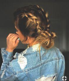 pig tail braids into messy bun. Nice Women's Hair Styles pig tail braids into … Braids For Long Hair, Easy Hair Braids, Messy Braids, Long Hair Casual Updo, Hair Plaits, Casual Braids, Messy Bun With Braid, Pretty Braids, Side Braids
