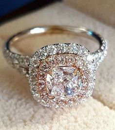 Diamond Engagement Rings - Ring trends change every year. Look at the gallery with the 60 TOP engagement ring photos. Only hottest engagement ring trends! Pink Diamond Engagement Ring, Beautiful Engagement Rings, Halo Engagement Rings, Diamond Rings, Solitaire Rings, Halo Diamond, Gold Rings, Pink Diamond Wedding Rings, Wedding Engagement