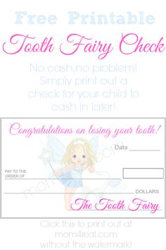 Printable Tooth Fairy Check! OMG, For When You Don't Have Cash For The Tooth Fairy!!! Parent Life Saver #brilliant #toothfairy #kids