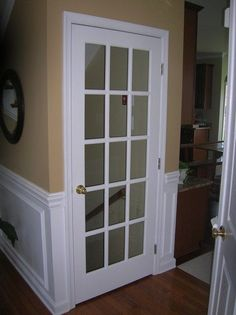 French Door to Basement- top of the stairs - Yep, this is exactly what i want at. French Door to Basement- top of the stairs – Yep, this is exactly what i want at the top of our s Attic Renovation, Basement Renovations, Home Remodeling, Basement Ideas, Basement Designs, Basement Layout, Modern Basement, Rustic Basement, Attic Remodel