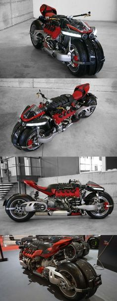 The insane Lazareth is a monster bike dominated by the Maserati engine that produces 470 horsepower at 7000 RPM. Concept Motorcycles, Cool Motorcycles, Moto Bike, Motorcycle Bike, Motorcycle Mirrors, Maserati, Vrod Harley, Harley Gear, Monster Bike