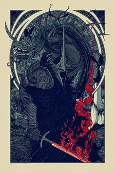 """The Art of Florian Bertmer: Lord of the Rings print  -  """"Witch King and the Fe..."""