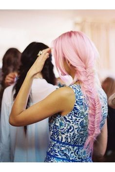 dress, fishtail, fishtail plait, girl, hair, pink, pink hair, pretty, pretty and pink, smile