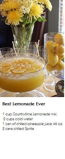 BEST LEMONADE EVER! - 1 cup Countrytime Lemonade mix, 2 cups cold water, 1 can of chilled pineapple juice oz}, 2 cans chilled Sprite =pinner said best lemonade ever - Enough Said!then best lemonade ever Refreshing Drinks, Fun Drinks, Yummy Drinks, Beverages, Alcoholic Drinks, Party Drinks, Cold Drinks, Malibu Drinks, Malibu Rum