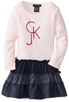 Calvin Klein Little Girls' Jeans Logo Tutu Dress, Pink, 6X  - Click image twice for more info - See a larger selection girls pink dress at http://girlsdressgallery.com/product-category/girls-pink-dresses/- girls, little girls, kids, kids fashion, girls fashion, girls dress, casual dress, everyday dresses, gift ideas