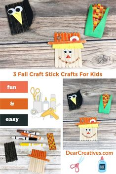 Fall Craft Stick Characters – Scarecrow, Crow, and Harvest Corn Fall Craft Stick Characters Make a Scarecrow, Crow, Harvest Corn from craft sticks with the kids. This is a fun and easy fall craft for kids. Find this and more tutorials at DearCreatives Yellow Crafts, Red Crafts, Green Craft, Foam Crafts, Cheap Fall Crafts For Kids, Easy Fall Crafts, Art For Kids, Popsicle Stick Crafts, Craft Stick Crafts