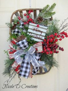Farmhouse Christmas Decorations - Farmhouse Christmas door Hanger- White washed Tobacco Basket Christmas Arrangement- Christmas for front door Black Christmas Decorations, Christmas Wreaths For Front Door, Christmas Baskets, Holiday Decor, Christmas Bazaar Ideas, Christmas Ideas, Xmas Wreaths, Christmas Quotes, Christmas Design