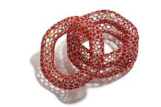 Islet | Red, Stackable Bracelets, 2009, 3-D Printed Photopolymer, polychrome & 18k, 4 x 4 x 1 in.