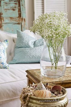 sofa, details, blue, decoration, shells, flowers, vase, pillow, detalhes, flores, vaso , sofa, almofada, concha