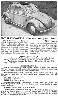 Vw beetle specifications black and white ad