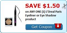 New Coupon!  Save $1.50 on ANY ONE (1) L'Oreal Paris Eyeliner or Eye Shadow product - http://www.stacyssavings.com/new-coupon-save-1-50-on-any-one-1-loreal-paris-eyeliner-or-eye-shadow-product/