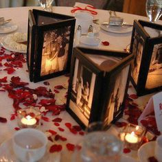 Easy gift idea: picture frames glued together, no backs and a flameless LED candle in the middle.