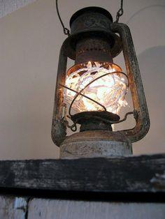 Christmas lights inside old lantern