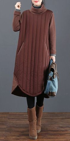 3466bac7825dbb Loose Thick High Neck Base Dresses For Women 6025 Mori Girl Fashion