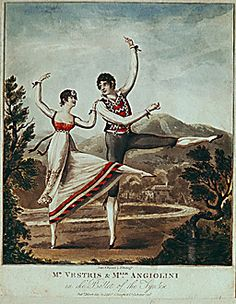 """Auguste Vestris (1760-1842), first dancer and ballet master of the Paris opera, and Mlle. Angiolini in the """"Ballet of the Tyrolese,"""" 1810. Coloured engraving."""