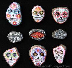 painted sugar skulls on rocks. love this. found on alisaburke.blogspot.com