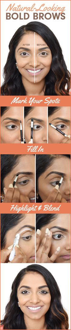 Eyebrows are the focal point of the face, so get those bad boys in order using eyeshadow and a slanted brush.