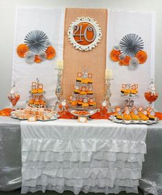 Dessert table - Orange and silver anniversary celebration party fall wedding inspiration / october 2018 wedding / wedding ideas fall autumn / wedding ideas autumn / fall wedding ideas colors Orange Party, Fall Birthday Parties, Birthday Bash, Birthday Ideas, Silver Anniversary, Anniversary Parties, Cousin Birthday, Grown Up Parties, Baby Shower Fall