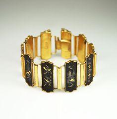 Vintage Japanese Shakudo Damascene Wide Bracelet by zephyrvintage, $39.00