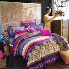 Hot Pink Purple and Rust Orange Chevron Stripe and Paisley Pop Print Bohemian Exotic Tribal Pattern Full Size Bedding Sets