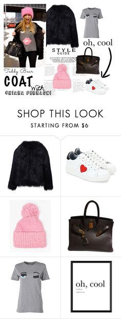 """Black Teddy Bear Coat"" by statisticam ❤ liked on Polyvore featuring WithChic, Chiara Ferragni, Dorothy Perkins and Hermès"
