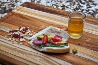 Rectangle Edge Grain Cutting Board with Hand Grip and Juice Canal. Gorgeous cutting board.