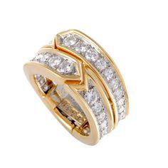 Tiffany & Co. Diamond Hinged Gold Band Ring