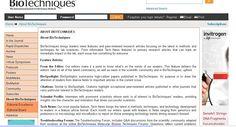Portal de la revista BioTechniques que contiene noticias y artículos científicos sobre métodos y técnicas de laboratorio.