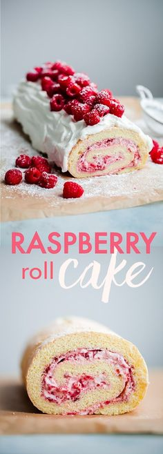 Roll Cake Raspberry Roll Cake - sponge cake filled with fresh raspberries, raspberry jam, and whipped cream. This light, airy cake recipe is perfect for summer!Raspberry (disambiguation) Raspberry may refer to: Köstliche Desserts, Delicious Desserts, Dessert Recipes, Plated Desserts, Food Cakes, Cupcake Cakes, Muffin Cupcake, Elegante Desserts, Cake Roll Recipes