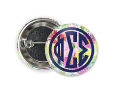 Standard size round pin back style button. Phi Sigma Sigma, Alpha Sigma Alpha, Engraved Tumblers, Tri Delta, Bid Day, Volkswagen Logo, Bmw Logo, Size 2, Buttons