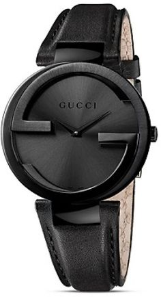 Gucci Black  PVD Case Watch with Black Dial and Strap.