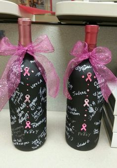 Decided to give a keepsake signed bottle of Pink wine to a coworker who was under going surgery for breast cancer. Just a visual reminder that we were all standing with her during fight with breast cancer. And when it was all gone she could toast her victory.