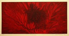 One of the frilly, red oriental poppies that grows in my garden.      This print is hand-pulled and made from an original metal plate that can