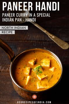 This North Indian recipe for paneer curry is a bit different as it is made in a special Indian pan called a handi. Don't let this deter you from trying this amazing curry because you can still make it in a normal pot or kadai (wok). This recipe is simple to make as most of the ingredients are spices and everyone at the dinner table will love the creamy gravy and tender paneer cubes. Try it tonight! #paneer #NorthIndianfood #dinner #curry #vegetarian