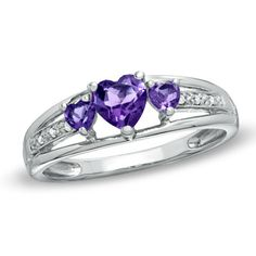 Heart-Shaped Amethyst Three Stone and Diamond Accent Ring in Sterling Silver $54.99