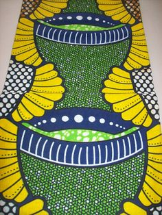 Yelow Green color wax print fabric per yard/ by tambocollection, $7.00