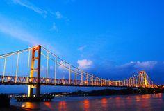 Tepian - Mahakam.  Another face from Kertanegara bridge.  Tenggarong, East Borneo, Indonesia.
