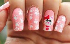 Deko uñas by diana diaz Cat Nail Art, Cat Nails, Fancy Nail Art, Fancy Nails, Ruby Nails, Pink Nails, Nail Polish Designs, Nail Art Designs, Nail Bar