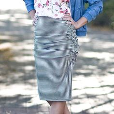 Our ruched pencil skirt is a definite customer favorite. • {It flatters everyone--and is super easy breezy to style.} • We wear it with flip-flops, Chucks, booties...you name it! • {It really is the ideal every-occasion skirt.} #primlane #ootd #pencilskirt #stripes #boutique #wearit #loveit