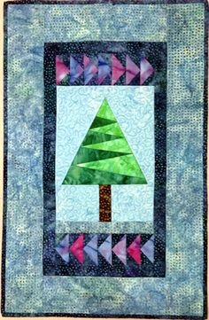 Nordic pine paper pieced wall hanging