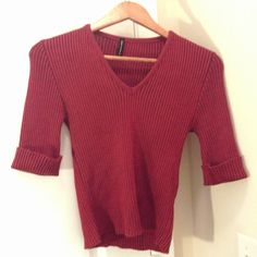 MARIPOSA V NECK FITTED RIBBED 3/4 SLEEVES RED/BLACK STRIPED SWEATER TOP SZ L JRS #MARIPOSA #VNeck #Casual