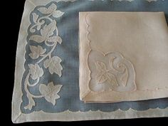 FINEST 17pc Vtg MADEIRA Linen Organdy Placemats Ivy Pattern PRISTINE Unsed Set