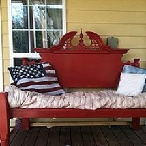 outdoor bench made from an old bed frame.... Hometalk