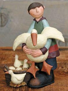 Boy Holding a Goose Figurine – Everyday Folk Art Figurines & Collectibles – Williraye Studio $27.50