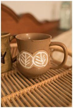 Floral design stoneware coffee mug  drink ware  by 223VintageCo